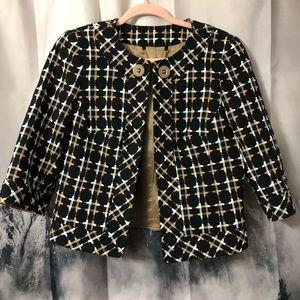 Trina Turk Arrow Woven Cropped Blazer 3/4 sleeve